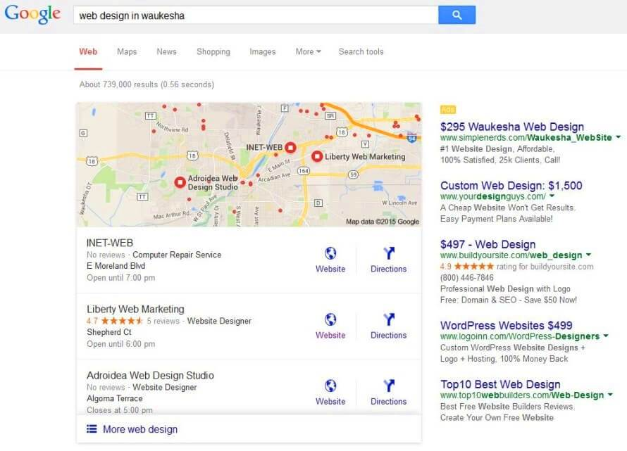 Google New three-pack for Local Search